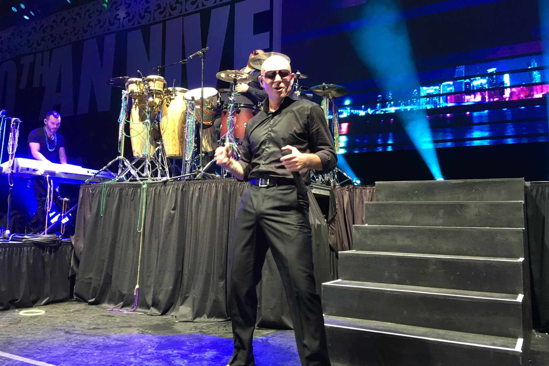 Pitbull performing at Endymion Extravaganza